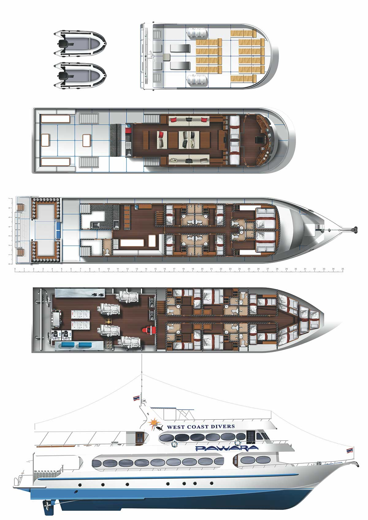 Pawara Liveaboard Layouts