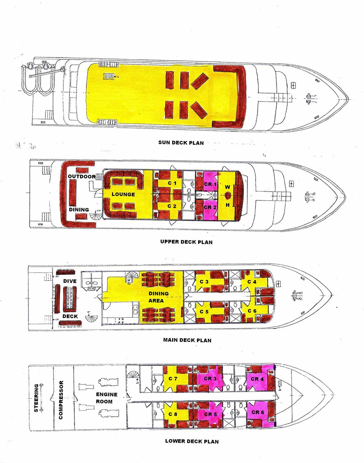 MV Infiniti Liveaboard Layouts